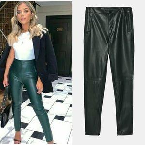 NWT Zara Dark Green Leather Pants Skinny Blogger Fav Sz XS